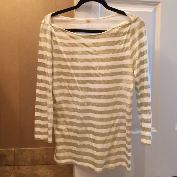 J. Crew Tops - Jcrew Gold and White Striped Shirt