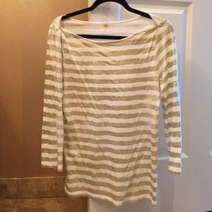 Jcrew Gold and White Striped Shirt