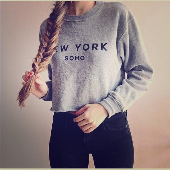 Brandy Melville Sweaters Crop New York Soho Sweatshirt Poshmark