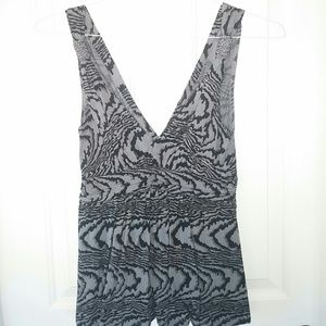 Express Gray, black, and silver V-neck top