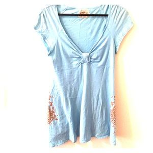 Gypsy 05 Dresses & Skirts - Sky blue with print cover up
