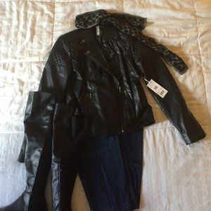 Mural black leather biker jacket