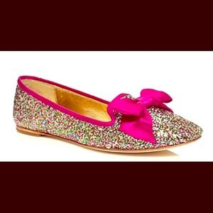 Kate Spade audrina glittered bow top flat