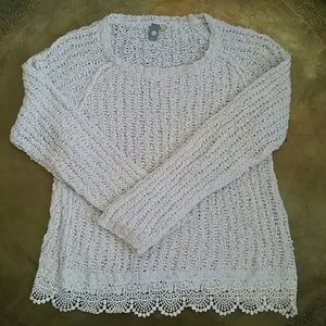 Anthropologie Sweaters - Anthropologie sweater with lace trim