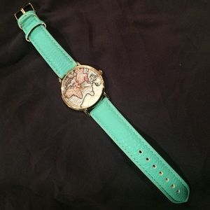 World Map Watch with Mint Strap
