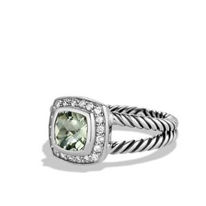 David Yurman Prasiolite Ring w/ Pave diamonds