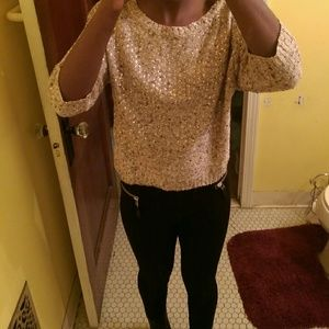 H&M gold sequin knit sweater