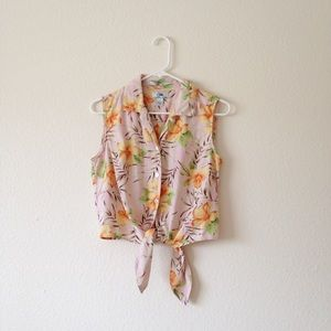 BOGO 50% | 90s Tropical Button Up Silk Crop Top