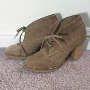 Tan suede desert booties from J.Crew