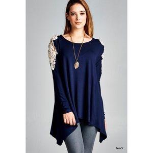 ultrachicfashion.com Tops - Navy Blue Crochet Tunic