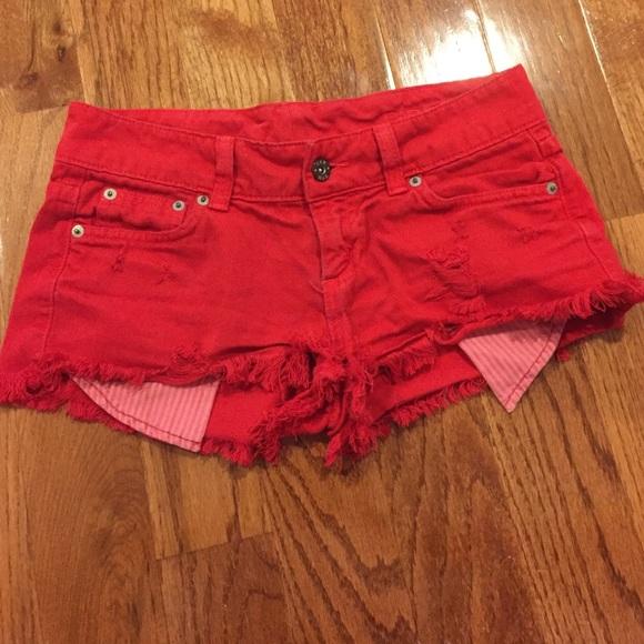 LF - LF Carmar red Jean shorts from Annie's closet on Poshmark