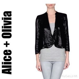 Alice + Olivia Black Sequin Silk Blazer