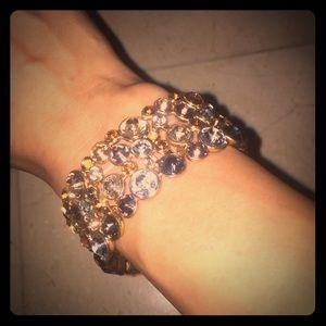 Jewelry - Gold bracelet with multi color rhinestones