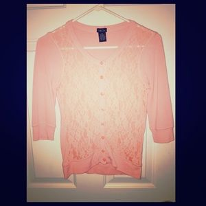 Pink lacy cardigan sweater