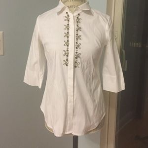 ANN TAYLOR Button Doe Shirt  Front Embellishments