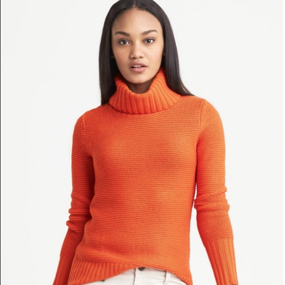 Banana Republic Sweaters Orange Textured Cowl Neck Sweater Poshmark