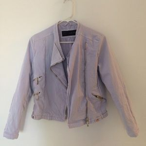 Pastel Blue Zara Moto Jacket