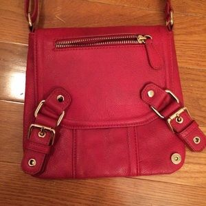 Red Faux Leather Cross-Body Bag