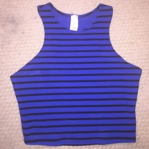 Striped royal blue and black crop top