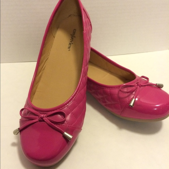 40 comfort view shoes quilted pretty in pink flats