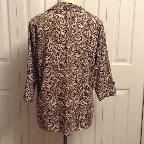 Croft barrow 6 for 6 brown off white button fron for White shirt brown buttons