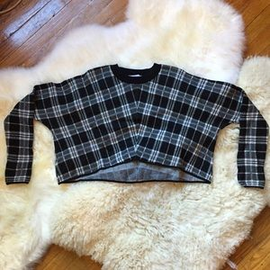 BCBGeneration Sweaters - BCBG Cropped Oversized Plaid Sweater