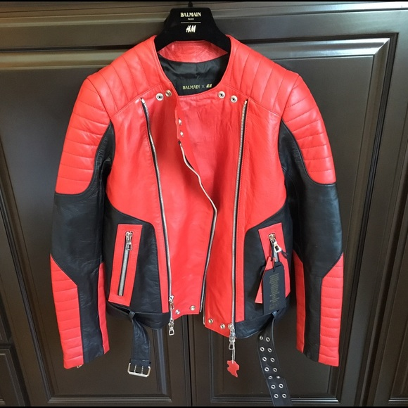 Balmain - ‼ SOLD ‼️H&M BALMAIN Mens red leather jacket from M's ...