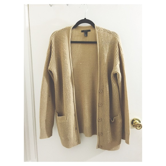 Forever 21 - Cream/Tan Oversized Sweater Cardigan from Eddie's ...