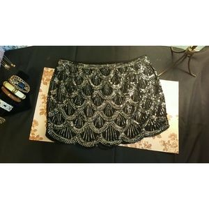 Sequined, fully lined skirt