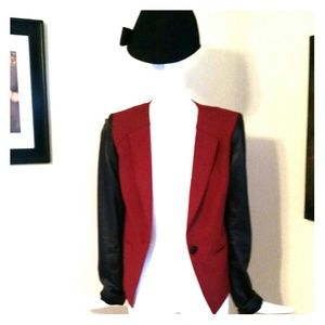 Rebecca Minkoff blazer w/black leather sleeves!!!
