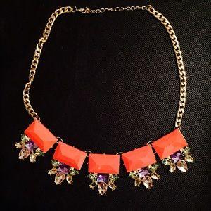 Gorgeous Orange & gold statement necklace