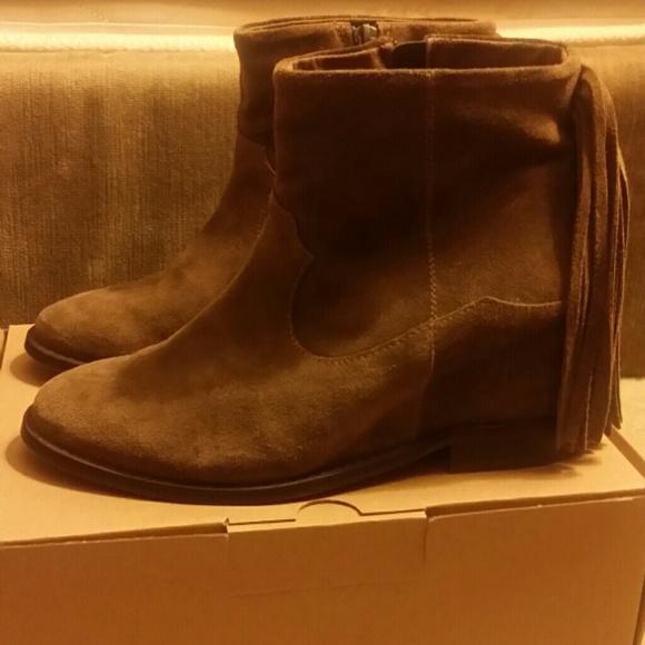 54 zara shoes zara suede leather heel fringe