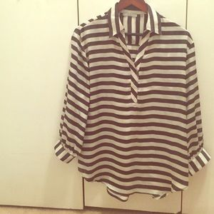 Violet & Claire Tops - Black and White Striped 3/4 Sleeve Blouse