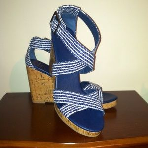 NWOT Cole Haan Grand OS Blue&White Stripe Wedges