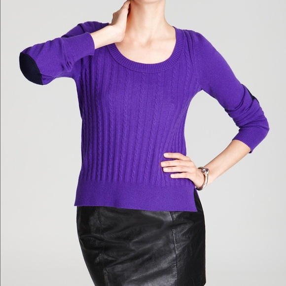 Cable knit sweater with elbow patches for women