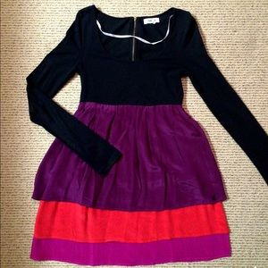 HURLEY Colorblock Silk Tier Long Sleeve Dress