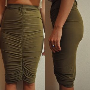 Missguided Skirts - Missguided Olive Midi Skirt