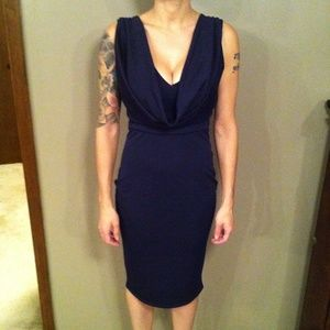 Navy Blue V Neck With Cowl Midi Dress