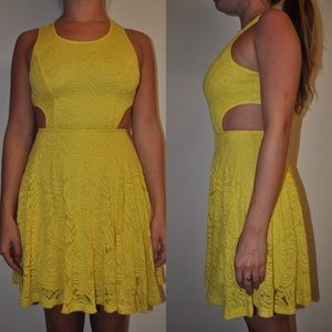 Dresses & Skirts - Yellow Lace Cutout Spring Dress
