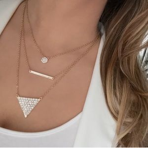 Layered pavé triangle and bar necklace