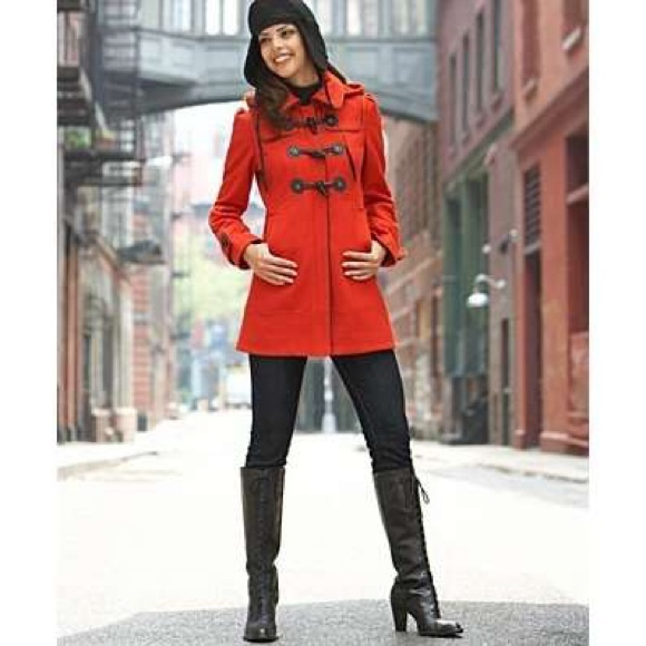 60% off Guess Jackets & Blazers - New Red Orange Guess Coat Long ...