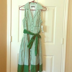 Green and White striped dress. Size 4. NWT