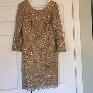 Gold lace and sequin size 10 sheath dress