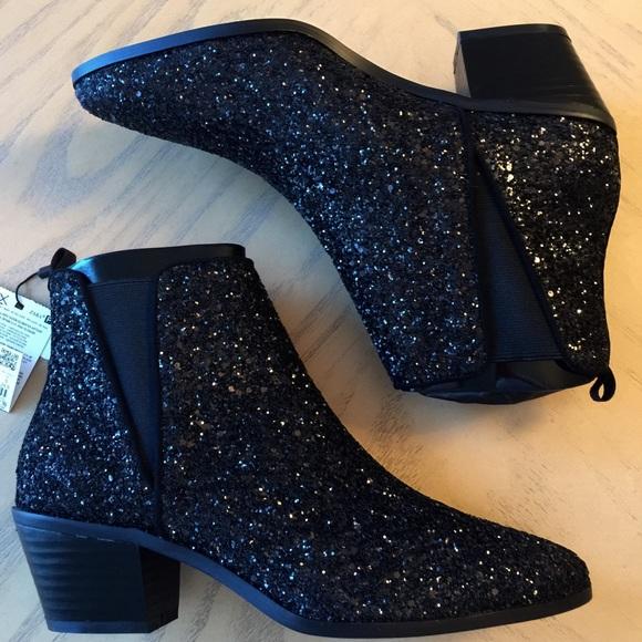 3d560f294f98 Zara Black Sparkle Ankle Boots Size 8 (39)