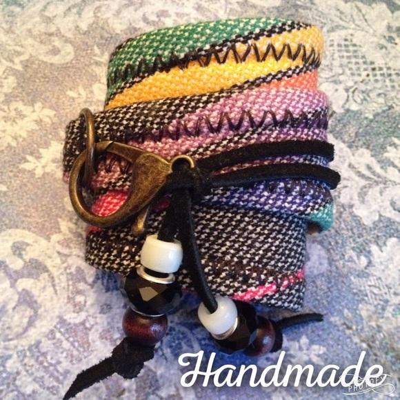 Handcrafted adjustable wrap cuff bracelet