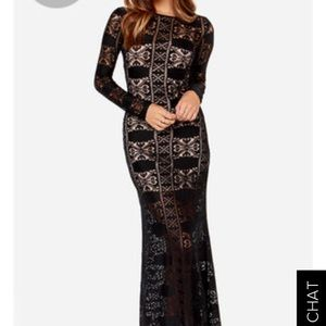 🚫SOLD Lulu's EXCLUSIVE BLACK LACE MAXI DRESS