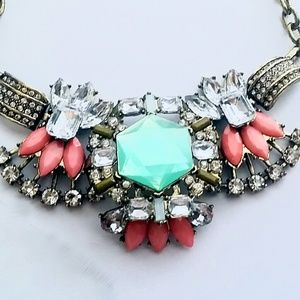 Gorgeous Statement Necklace Gold Pink Green Mint