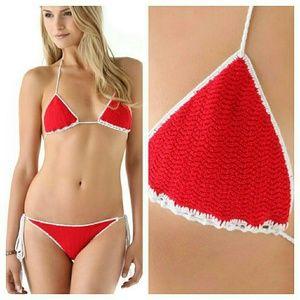 New indah bells bikini knit red white crochet top