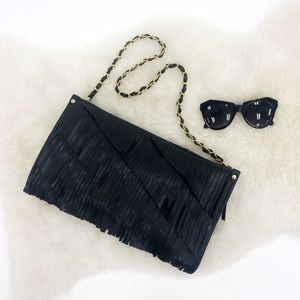 Melie Bianco Handbags - Leather Fringe Clutch w/ Convertible Chain Strap