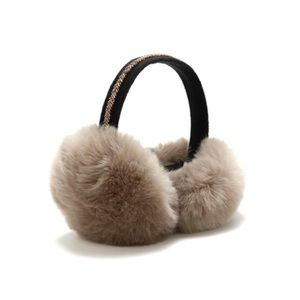 • Taupe beaded faux fur ear muffs •